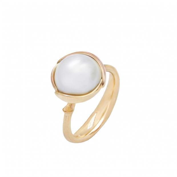 Lotus Ring Small 750 Gelbgold mit Perle
