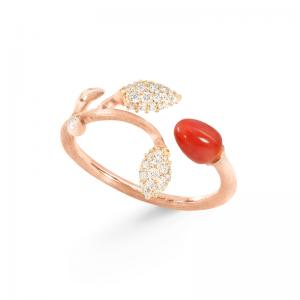 Ole Lynggaard Blooming Ring, rote Koralle, 750 Roségold, 2 Blätter aus 42 Brillanten Pavé zus. 0.18 ct TW.VS