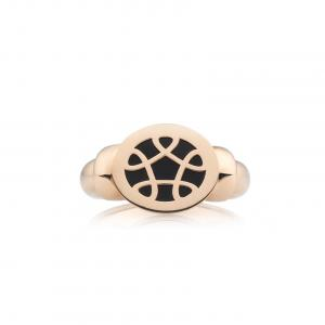 Bron Toujours Ajour Piccolo Ring 750 Roségold, Onyx