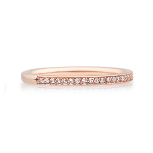 Bron Stax Memoire Ring 2 mm 750 Roségold mit Brillanten