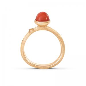 Ole Lynggaard Lotus Tiny Ring No. 0, 750 Gelbgold, rote Koralle
