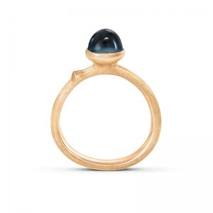 Ole Lynggaard Lotus Tiny Ring No. 0, 750 Gelbgold, London Blue Topas