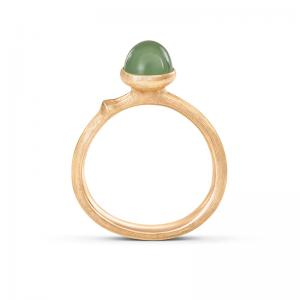 Ole Lynggaard Lotus Tiny Ring No. 0, 750 Gelbgold, Serpentin