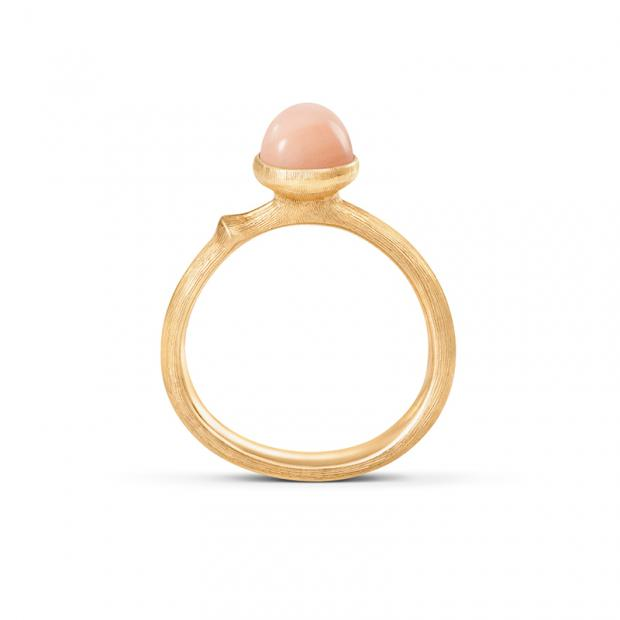 Lotus Tiny Ring 750 Gelbgold mit Blush Mondstein