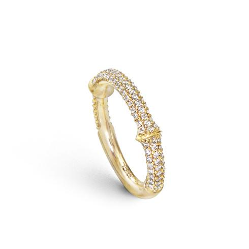 Nature Ring 750 Gelbgold mit Brillanten