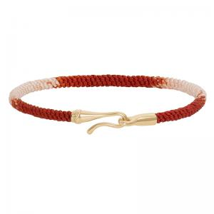 Ole Lynggaard Life Armband 750 Gelbgold poliert, Textil, Red Emotions