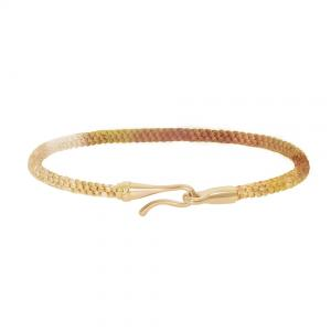 Ole Lynggaard Life Armband 750 Gelbgold poliert, Textil, Golden Day