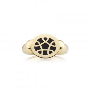 Bron Toujours Ajour Piccolo Ring 750 Gelbgold, Onyx