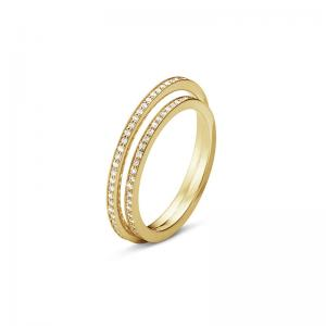 Georg Jensen Halo Ring 750 Gelbgold, Brill.Pavé zus. 0.39-0.46 ct. TW.VS., Mod. 1633A