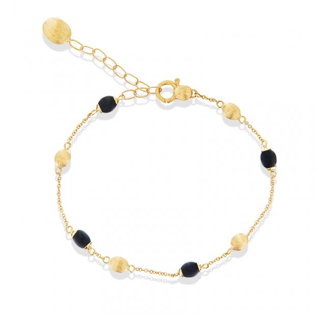 Dancing Mystery Black Armband 750 Gelbgold mit Onyx